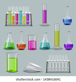 Laboratory items and test tubes collection. Realistic vector illustration.