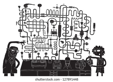 Laboratory Maze Game in black and white with isolated layers. Task: Find the right way! Solution is in hidden layer. Illustration is in eps8 vector mode!