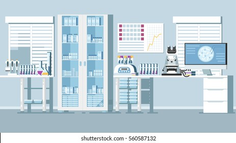 Laboratory Medical Hospital Illustration. Lab Vector Background.