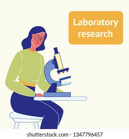 Laboratory Research Flat Vector Poster with Text. Woman with Microscope. Student at Biology Class. Female Scientist, Researcher Character. Biologist Looking at Sample in Laboratory. Lab Testing