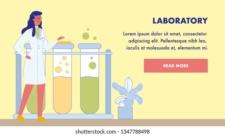 Laboratory Research Vector Landing Page Template. Tubes with Liquid, Chemicals. Scientific, Diagnostic Laboratory. Biotechnology. Scientist, Biochemist Character. Lab Testing. Treatment Development