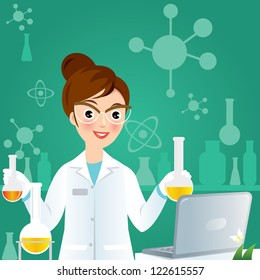 Laboratory researcher - Isolated scientist woman in lab coat with chemical glassware