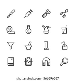 Laboratory tools vector out line set 2 on white background. Premium quality outline symbol collection. Stroke vector logo concept, web graphics.