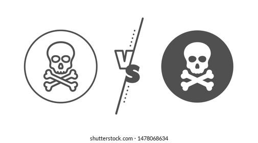 Laboratory toxic sign. Versus concept. Chemical hazard line icon. Death skull symbol. Line vs classic chemical hazard icon. Vector