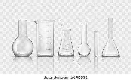 Laboratory Transparent Chemical Lab Glassware Beakers And Flasks. EPS10 Vector