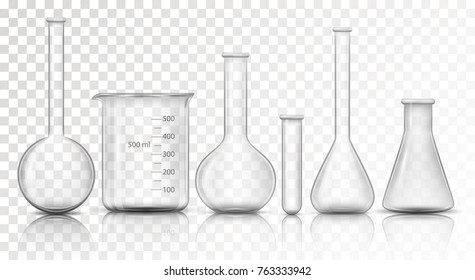 Laboratory transparent glassware instruments. Empty equipment for chemical lab in realistic style. Beaker and flask, chemical glass transparent for lab. Vector illustration