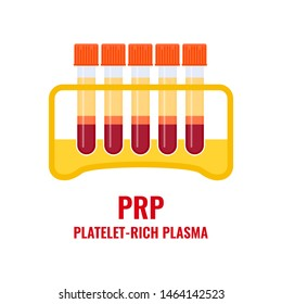 Laboratory tube rack with PRP blood collection tubings after separation of platelets in the centrifuge. Platelet-rich plasma regenerative medicine concept. PRP vector infographics.
