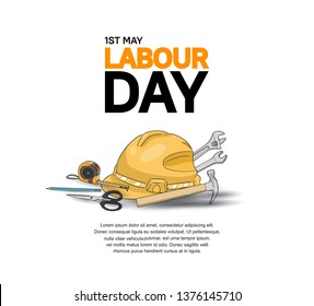 Labour Day design poster with colorful tools vector. 1st may celebration illustration