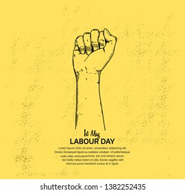 Labour Day design poster with fist. 1st may celebration illustration yellow background