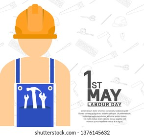 Labour Day design poster with worker. 1st may celebration illustration white background