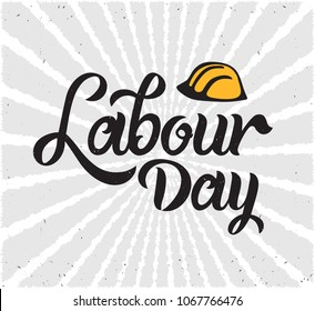 Labour Day handwritten lettering. Labour Day typography vector design for greeting cards and poster. Design template celebration. Vector illustration.
