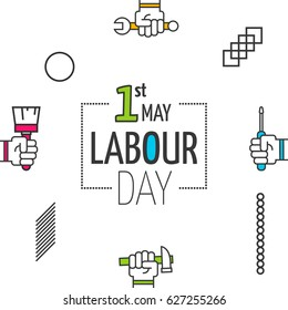Labour day poster. Vector illustration of workers day celebration banner. Labor day outline background. 1st may geometric symbol, icon, logo.