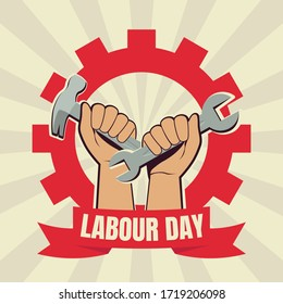 Labour day vector. two fist illustration