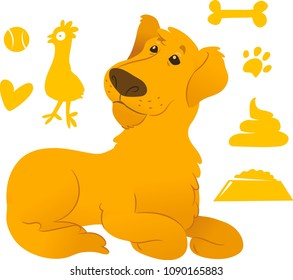 Labrador with cute dog icons set