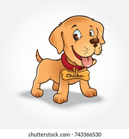 Labrador dog cartoon characters with isolated necklaces on a white background. Funny cartoon and animal vector characters, isolated objects.