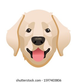 Labrador. Labrador dog portrait. Labrador head. Dog breed. Vector illustration.