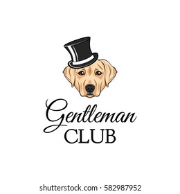 Labrador dog in a top hat. Gentleman club badge. Vector illustration isolated on white background