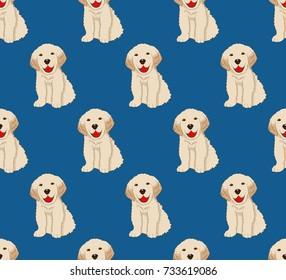 Labrador Golden Retriever Dog Seamless on Indigo Blue Background