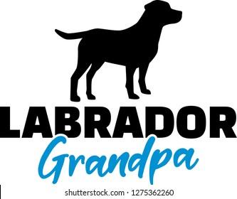 Labrador Grandpa silhouette in black