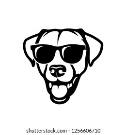 Labrador retriever dog face wearing sunglasses - isolated outlined vector illustration