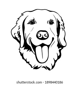Labrador Retriever. Silhouette. Line art. Template. Close-up. Clip art. Hand Painting. Ink. Black and white.