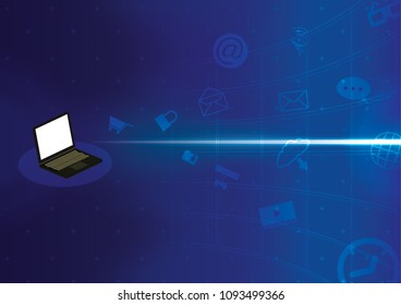 labtop background application icon coming out of laptop