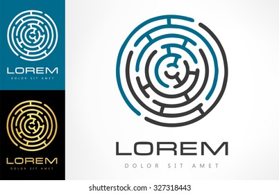 Labyrinth abstract. Puzzle rebus logic. Vector icon.