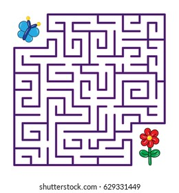 Labyrinth for children. Butterfly flies to the flower through a maze on a white  background. Vector flat illustration