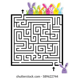 Labyrinth. Easter image. Help to find a correct way home. Design image.