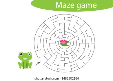 Labyrinth game, help the cute frog to find a way out of the maze, cute cartoon character, preschool worksheet activity for kids, task for the development of logical thinking, vector illustration