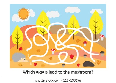 Labyrinth game, help the hedgehog to find a way to the mushroom, cute cartoon character, preschool worksheet maze activity for kids, task for the development of logical thinking, vector illustration