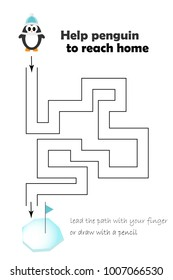 Labyrinth game, help the penguin to reach home, lead the path with finger or draw, cartoon character, preschool worksheet activity for kids, task for the development children, vector illustration