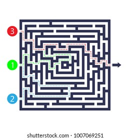 Labyrinth game. Three entrance, one exit and one right way to go. But many paths to deadlock. Vector illustration. Eps 10.