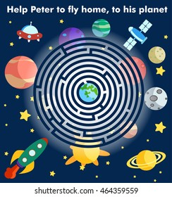 Labyrinth Game,Maze puzzle with solution,Vector illustration of round maze