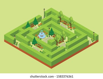 Labyrinth garden isometric view of outdoor maze of hornbeam trees hedges landscape park architecture design vector illustration