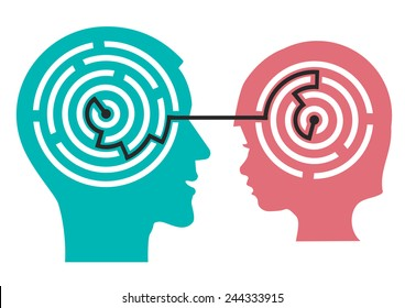 Labyrinth in the head of child. Male and child head silhouette with maze symbolizing psychological processes of understanding or child psychologist.  Vector illustration.