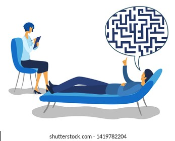Labyrinth in the head. Psychotherapy counseling man dealing with stress. Modern colorful flat style vector illustration isolated on white background.