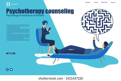 Labyrinth in the head. Psychotherapy counseling man dealing with stress. Modern colorful flat style vector illustration isolated on white background.web, mobile app, poster, banner, flyer