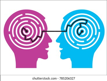 Labyrinth in the heads. Illustration of two male heads with maze symbolizing psychology.Vector available.