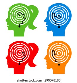 Labyrinth in the heads. Male and female head silhouettes with maze symbolizing psychological processes of understanding. Vector illustration.