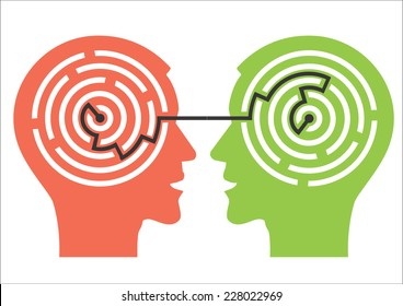 Labyrinth in the heads. Two male head silhouettes with maze symbolizing psychological processes of understanding. Vector illustration.