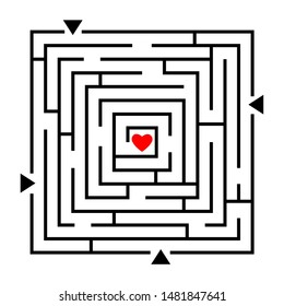Labyrinth to heart. Love maze, how to find your love path, vector way finding gaming concept abstract design, relationship or wedding game puzzle
