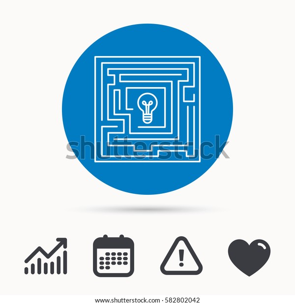 Labyrinth icon. Problem challenge sign. Find solution symbol. Calendar, attention sign and growth chart. Button with web icon. Vector
