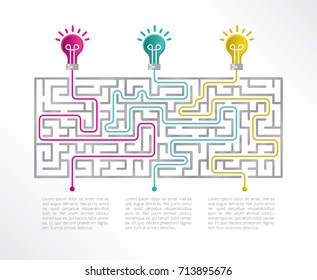 Labyrinth infographic 3 options. Vector illustration with light bulbs.