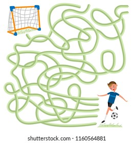 Labyrinth logic maze game for kids. Help football soccer player to find the way to goalposts. Vector illustration colorful isolated on white background ready for print in children's magazine or book
