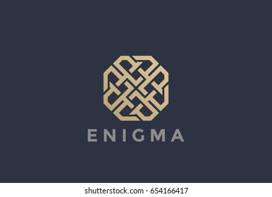 Labyrinth Maze abstract Logo design vector template Linear style. Enigma rebus logic Logotype concept Luxury Fashion icon.