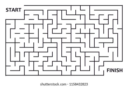 Labyrinth or maze with entry and exit. Puzzle or logical game in rectangle shape. Vector and illustration template.