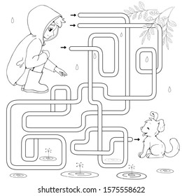 Labyrinth. Maze game for kids. Help cartoon boy find path to a cute puppy. Rescue homeless dog from the rain.  Kindness concept. White and black vector illustration for coloring book.
