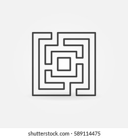 Labyrinth or maze icon - vector minimal thin line symbol or design element