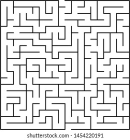 Labyrinth of medium complexity. Vector illustration of a maze. Black and white geometric pattern.